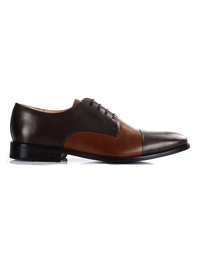 Brown and Coffee Brown Premium Toecap Derby main shoe image