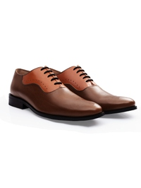 Coffee Brown and Tan Premium Eyelet Wholecut Oxford alternate shoe image