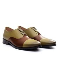 Beige and Coffee Brown Premium Toecap Oxford alternate shoe image