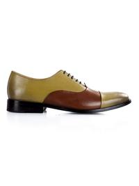 Beige and Coffee Brown Premium Toecap Oxford main shoe image