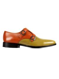 Tan and Beige Premium Double Strap Monk main shoe image