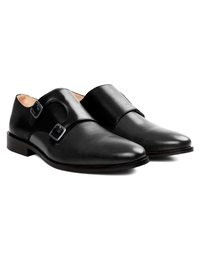 Black and Gray Premium Double Strap Monk alternate shoe image
