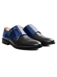 Dark Blue and Gray Premium Double Strap Monk alternate shoe image