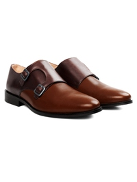 Brown and Coffee Brown Premium Double Strap Monk alternate shoe image