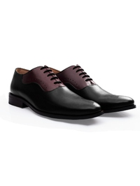 Black and Burgundy Premium Eyelet Wholecut Oxford alternate shoe image