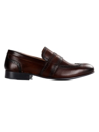 Dark Brown Premium Wingcap Slipon main shoe image