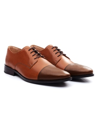 Tan and Coffee Brown Premium Toecap Derby alternate shoe image