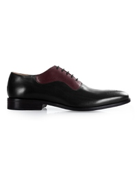 Black and Burgundy Premium Eyelet Wholecut Oxford main shoe image