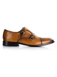 Yellow Premium Double Strap Toecap Monk shoe image