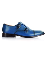 Dark Blue Premium Double Strap Toecap Monk main shoe image