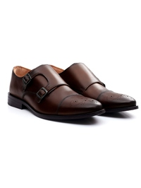 Dark Brown Premium Double Strap Toecap Monk alternate shoe image