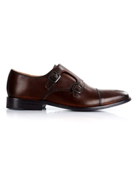 Dark Brown Premium Double Strap Toecap Monk shoe image