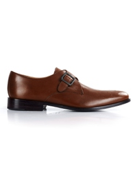 Coffee Brown Premium Single Strap Monk main shoe image