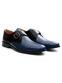 Black and Dark Blue Premium Single Strap Monk alternate shoe image