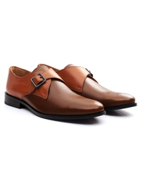 Tan and Coffee Brown Premium Single Strap Monk alternate shoe image