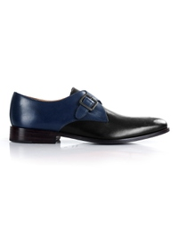 Dark Blue and Black Premium Single Strap Monk main shoe image