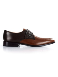 Brown and Coffee Brown Premium Single Strap Monk main shoe image