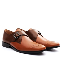 Coffee Brown and Tan Premium Single Strap Monk alternate shoe image