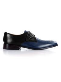 Black and Dark Blue Premium Single Strap Monk main shoe image