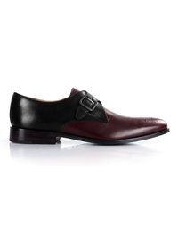Black and Burgundy Premium Single Strap Monk main shoe image