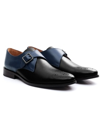Dark Blue and Black Premium Single Strap Monk alternate shoe image