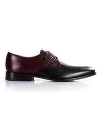 Burgundy and Black Premium Single Strap Monk shoe image