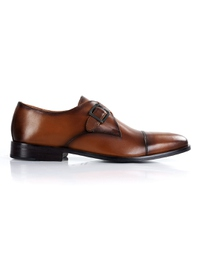 Coffee Brown Premium Single Strap Toecap Monk main shoe image
