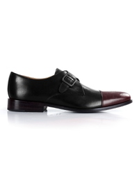 Black and Burgundy Premium Single Strap Toecap Monk main shoe image