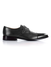 Gray and Black Premium Single Strap Toecap Monk main shoe image