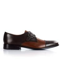 Brown and Coffee Brown Premium Single Strap Toecap Monk main shoe image