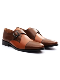 Coffee Brown and Tan Premium Single Strap Toecap Monk alternate shoe image