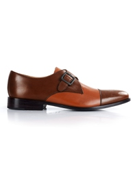 Coffee Brown and Tan Premium Single Strap Toecap Monk main shoe image