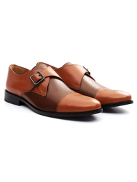 Tan and Coffee Brown Premium Single Strap Toecap Monk alternate shoe image
