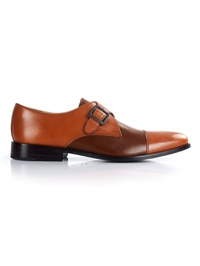 Tan and Coffee Brown Premium Single Strap Toecap Monk main shoe image