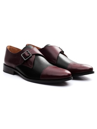 Burgundy and Black Premium Single Strap Toecap Monk alternate shoe image