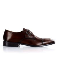 Dark Brown Premium Single Strap Toecap Monk main shoe image