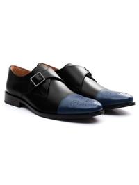 Black and Dark Blue Premium Single Strap Toecap Monk alternate shoe image