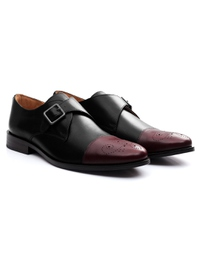 Black and Burgundy Premium Single Strap Toecap Monk alternate shoe image