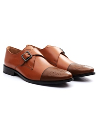 Tan and Coffee Brown Premium Single Strap Toecap Monk alternate shoe image