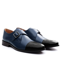 Dark Blue and Black Premium Single Strap Toecap Monk alternate shoe image