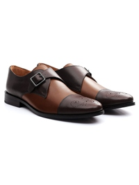 Brown and Coffee Brown Premium Single Strap Toecap Monk alternate shoe image