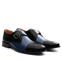 Black and Dark Blue Premium Single Strap Toecap Monk alternate shoe image