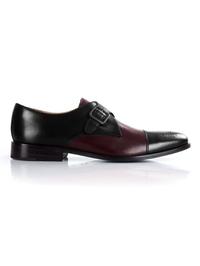 Black and Burgundy Premium Single Strap Toecap Monk shoe image