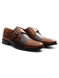 Coffee Brown and Brown Premium Single Strap Toecap Monk alternate shoe image