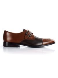 Coffee Brown and Brown Premium Single Strap Toecap Monk shoe image
