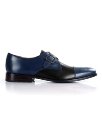 Dark Blue and Black Premium Single Strap Toecap Monk main shoe image