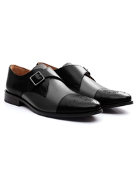 Black and Gray Premium Single Strap Toecap Monk alternate shoe image