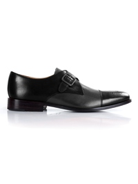Black and Gray Premium Single Strap Toecap Monk shoe image