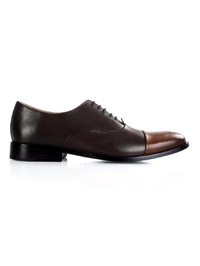 Brown and Coffee Brown Premium Toecap Oxford main shoe image