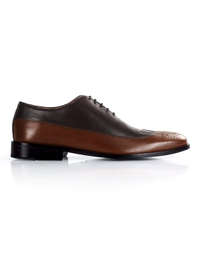 Brown and Coffee Brown Premium Wingtip Oxford main shoe image